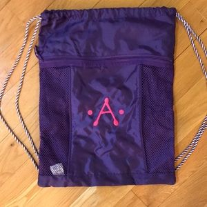 Thirty-one A embroidered pull string bag - NWOT